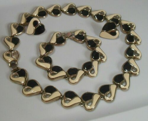 Vintage Silver-tone W/Black & White Enamel Heart Link Parure Jewelry Set
