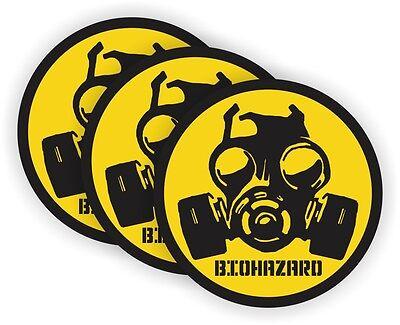 3 Gas Mask Hard Hat Stickers Welding Motorcycle Helmet Decals Bio-hazard