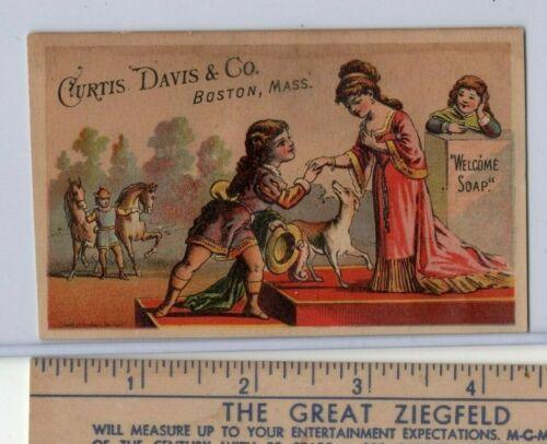 """Boston, Massachusetts  """"Welcome Soap"""" original  Victorian trade card"""