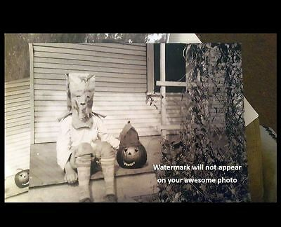 Vintage Creepy Child Halloween PHOTO Pumpkin Head Costume Freak Scary Kid Mask