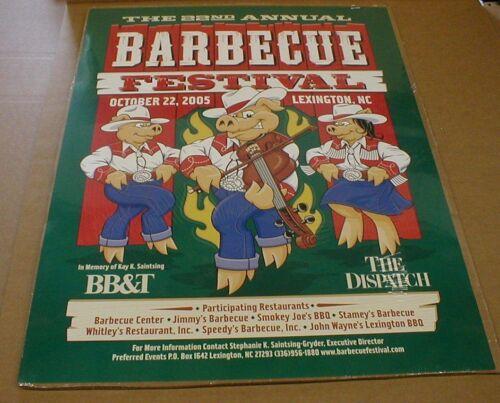 2005 Barbecue BBQ Lexington NC Bluegrass Fiddle Pig Art Poster North Carolina
