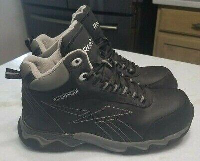 REEBOK Men's Beamer- RB1068 Leather Waterproof Work Boot Size 8 Black