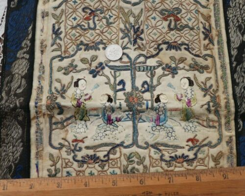 """Antique Chinese Gold Metallic Couched Embroidered Silk Mat~L-22"""" x W-10"""""""