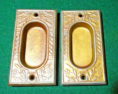 PAIR of EASTLAKE POCKET DOOR PULLS / PLATES - CIRCA 1890-1900  (13228-2)