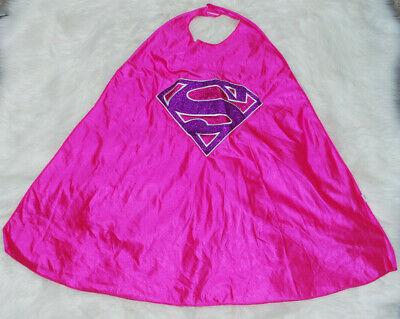Girls Pink Purple Glitter Superman Cape Halloween Costume Accessory Six Flags - Pink Superman Costume