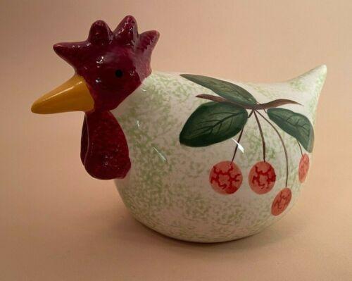 CBK LTD 2002 Hand Painted Ceramic Rooster Chicken with Cherries Figurine