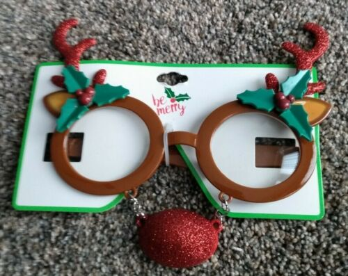 Holiday Novelty Eye Glasses, Reindeer, Merry Christmas