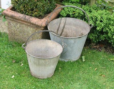 Antique Pair of Galvanised Buckets Planters Garden Displays