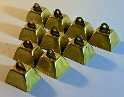 "Lot of 20 Miniature Brass Color (Mini) Cowbells Crafts Chimes Diorama Pets 1"""