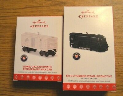 2017 Two-Piece Set Hallmark Keepsake Lionel Train 671S-2 Steam Engine & Milk Car