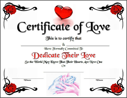 Certificate of Love Rare Marriage Goth Wedding Pride Spirit Soul Goth New Age
