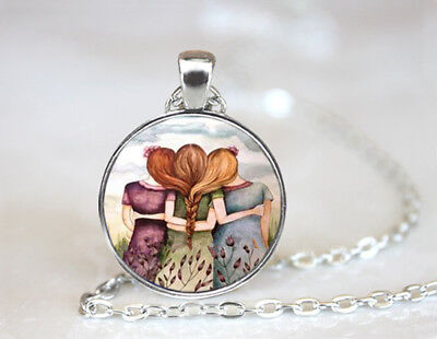 Three Sisters Best Friends Dome Tibetan silver Glass Chain Pendant Necklace