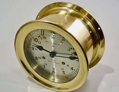 8 Day Ship Clock Navy Bell Strike Polished Brass Wind ()