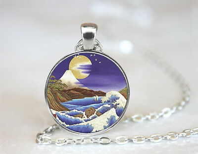 Mountain , Nature Jewelry Tibetan silver Dome Glass Art Chain Pendant Necklace
