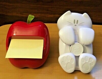 2 Post-it Pop-up Note Dispensers Red Apple And Cat Figure For 3x3 Post-it