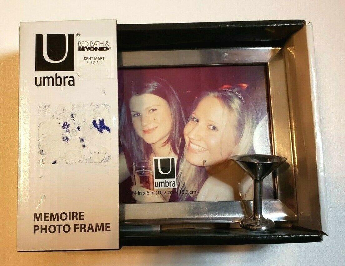 "Umbra 4"" x 6"" Chrome Memoire Photo Picture Frame Martini Gla"