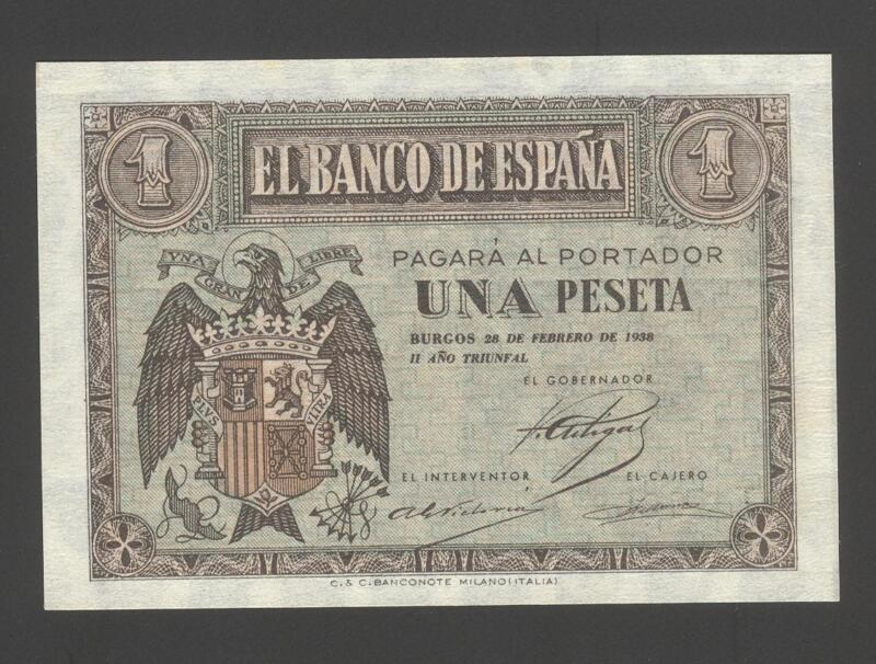 Spain 1 Peseta 28-02-1938 XF+/AU  P. 107,    Banknotes, Uncirculated