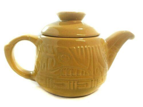 Frankoma Yellow Aztec Pattern Teapot FREE Shipping