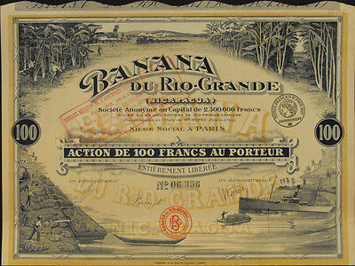 Nikaragua Frankreich Banana du Rio-Grande Aktie 1913 Kolonie Bananen Plantage