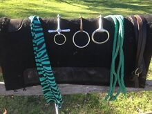 Blue split reins bits leather reins Clydie bridle tail bag Woodford Moreton Area Preview