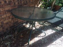 Outdoor Round glass table 4 seater New Lambton Heights Newcastle Area Preview
