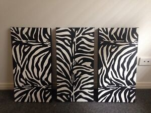 Zebra 3 panel painting Banyo Brisbane North East Preview