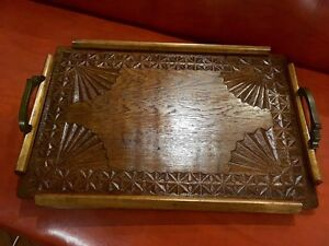 Vintage Art Deco wooden carved serving tray Elermore Vale Newcastle Area Preview
