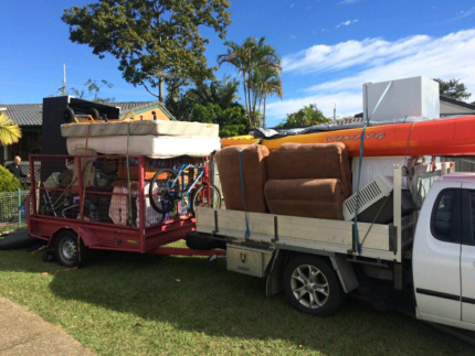 MAN AND UTE WITH TRAILER