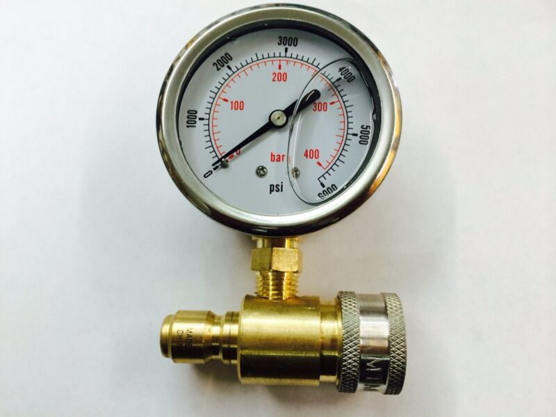 Pressure Washer Pump MTM Hydro 6000 PSI Pressure Gauge Meter with Quick Coupler