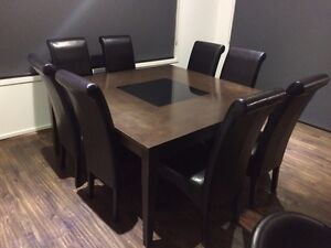 Square dining table with 8 leather chairs Tarneit Wyndham Area Preview