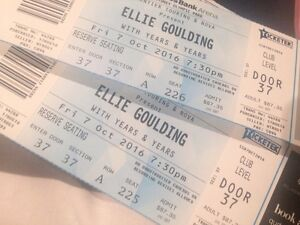 2 x Ellie Goulding Tix Sydney Braddon North Canberra Preview