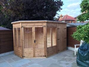 8x12  corner summer house and storage combo modern style