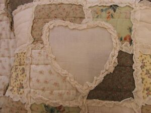 LARGE SHABBY CHIC VINTAGE FLORAL PATCHWORK  CUSHION COVER WITH RUFFLES  20 x 20
