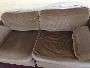 TWO Large two seater lounges olive green Ashmore Gold Coast City Preview