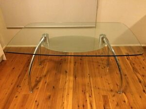 Glass and chrome 6 seater dining table. Lane Cove Lane Cove Area Preview