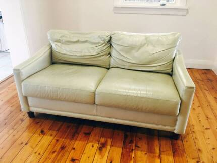 John Lewis Cream 2 seater Leather Sofa