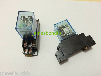 110v Ac Coil Power Relay Dpdt Ly2nj Hh62p-l Jqx-13f 10a With Ptf08a Socket Base