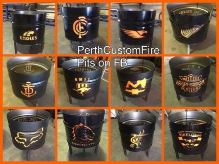 Custom hand cut 44 gallon drum firepits