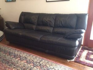 Black Full Leather Demir three-seater sofa/couch/lounge Pymble Ku-ring-gai Area Preview