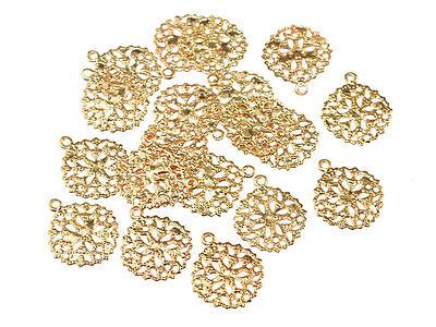filigrane kleine Anhänger in goldfarben 10 Stück von Vintageparts, DIY-Schmuck