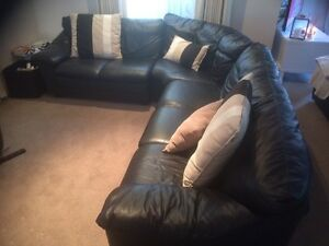 Black Natuzzi leather couch Aspendale Gardens Kingston Area Preview