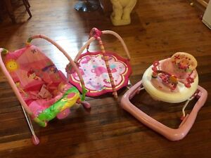 Baby girls bouncer play mat and walker Cessnock Cessnock Area Preview