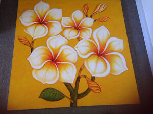 Large frangipani canvas (1 yellow 1 green) Berrilee Hornsby Area Preview