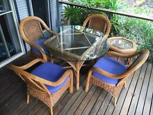 Indoor/Outdoor Wicker Cane Chairs and Table Setting Doonan Noosa Area Preview
