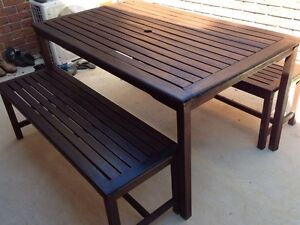 Outdoor wooden table and two bench seats Labrador Gold Coast City Preview