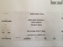 Crows v Giants members ticket Parafield Gardens Salisbury Area Preview