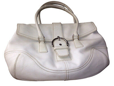 Flap Tote Handbag - COACH WHITE MEDIUM LEATHER FLAP SHOULDER TOTE HANDBAG PURSE - K04S-9550