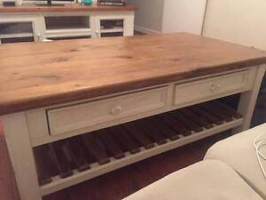coffee table tv unit side table set white wood shabby chic Bondi Eastern Suburbs Preview