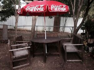 Outdoor setting with genuine Coke brand umbrella Holland Park West Brisbane South West Preview