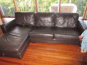 The Compac 2.5 Seater Leather Sofa Bed with Storage Chaise North Turramurra Ku-ring-gai Area Preview